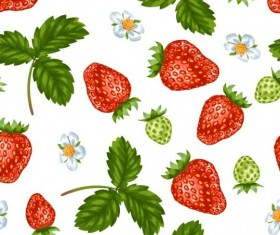 Strawberries with green leaves and flower pattern seamless vector 01