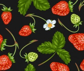 Strawberries with green leaves and flower pattern seamless vector 02
