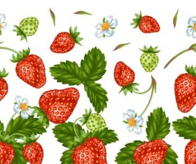 Strawberries with green leaves and flower pattern seamless vector 03