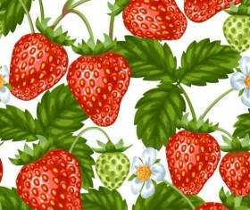 Strawberries with green leaves and flower pattern seamless vector 04