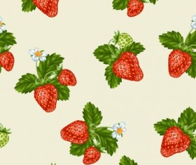 Strawberries with green leaves and flower pattern seamless vector 05