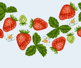 Strawberries with white flower seamless border vector 02