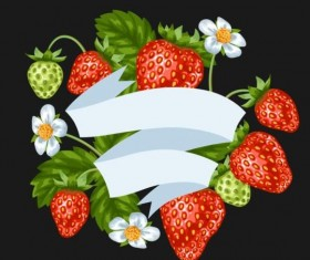 Strawberries with white ribbon vector