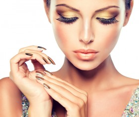 Stylish woman makeup eyelashes manicure