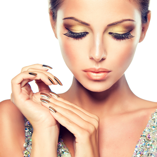 Stylish woman makeup eyelashes manicure
