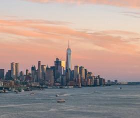 Sunset over the city skyline Stock Photo 07