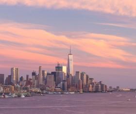 Sunset over the city skyline Stock Photo 08
