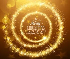 Swirl golden light christmas background vector 01