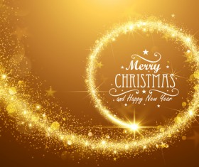 Swirl golden light christmas background vector 02