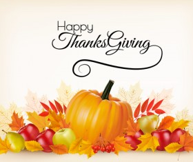 Thanksgiving holiday background with colorful leaves and fresh fruits vector