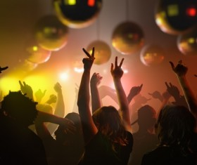 The disco is accompanied by music and people dancing with all kinds of gestures