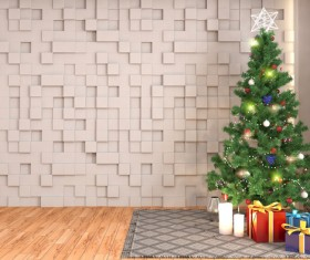 Three – dimensional wall with Christmas tree