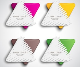 Triangle paper banners vector set 05