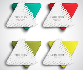 Triangle paper banners vector set 06