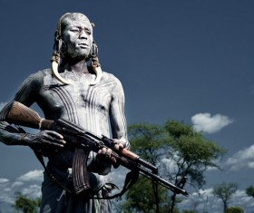 Tribal tribes of the original tribal people holding AK47