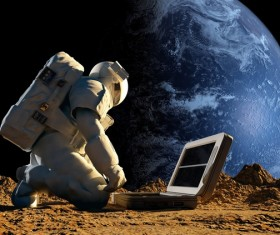 Use scientific instruments for astronauts and Earth backgrounds
