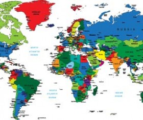 Vector colored world maps template 01