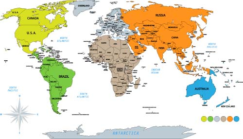Vector colored world maps template 04 free download