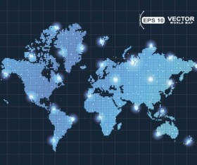 Vector world maps blue template