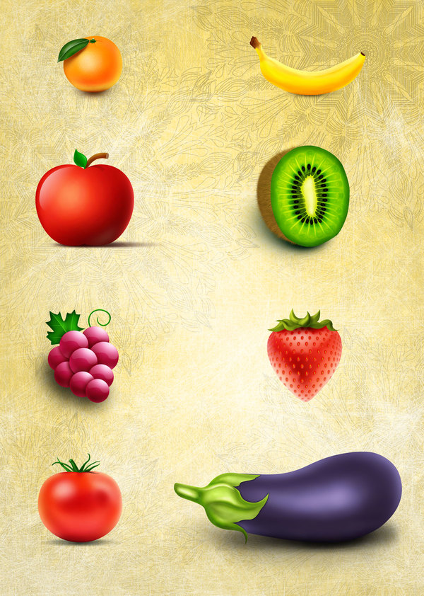 Vegetables and Fruits PSD material
