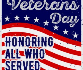 Veterans day grunge template vector 01