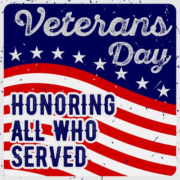 Veterans day grunge template vector 01