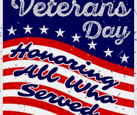 Veterans day grunge template vector 02