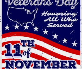Veterans day grunge template vector 03