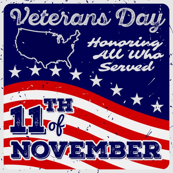 Veterans day grunge template vector 03