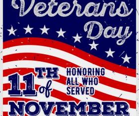 Veterans day grunge template vector 04