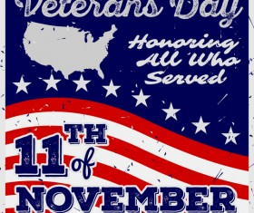 Veterans day grunge template vector 05
