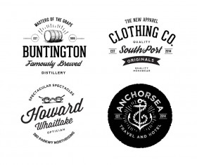 Vintage Logos with badge psd material