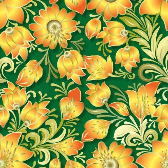Vintage flower ornament pattern vectors set 13