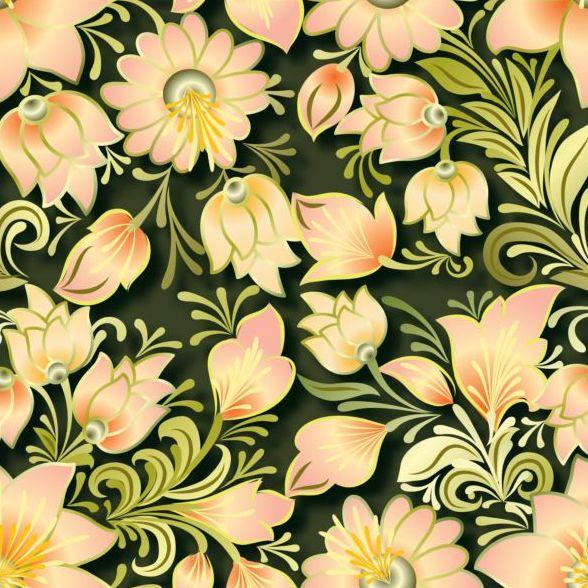 Vintage flower ornament pattern vectors set 15
