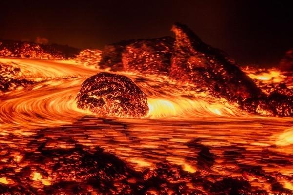 volcanic eruption of the magma stock photo nature stock