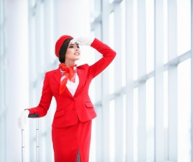 Waiting in the forehead of the waiting room stewardess Stock Photo