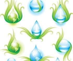 Water with earth icons vector