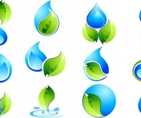 Water with green leaves logos set vector