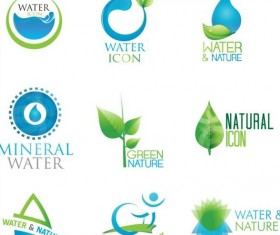 Water with nature icons vector set