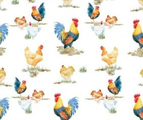 Watercolor cock seamless pattern vector 02