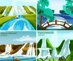 Waterfall with four seasons landscapes vector