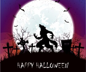 Werewolf on cemetery with halloween background vector