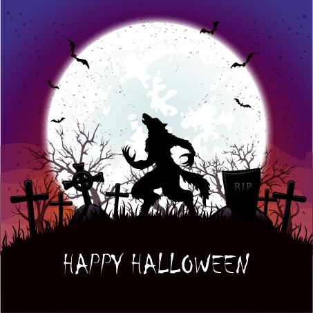 Werewolf on cemetery with halloween background vector