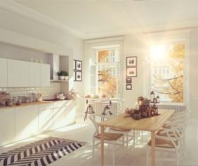 White simple Nordic kitchen Stock Photo 01