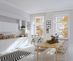 White simple Nordic kitchen Stock Photo 02