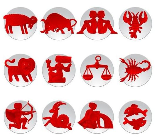 White with red zodiac icons set