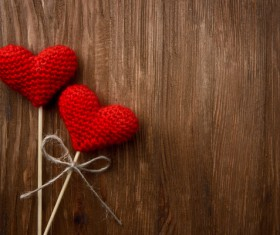 Wooden walls on the heart of two Valentines Stock Photo