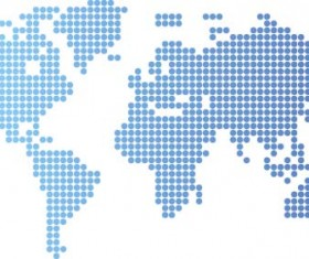 World maps with blue round dots vector