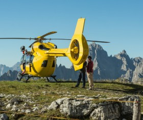 Yellow helicopters are used to rescue operations and rescue people
