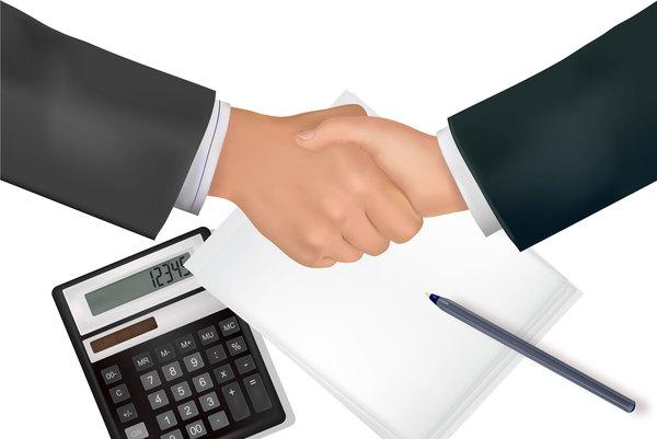 handshake and calculator business template vector